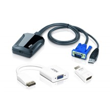 ATEN-CV211CP Laptop USB Konsol Adaptörü Kit'i, VGA + HDMI + DP<br>