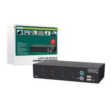 DC-12202-1 Digitus 4 portlu PS/2 ve USB KVM (Keyboard/Video Monitor/Mouse) Switch, Masaüstü Tip, KVM bağlantı kablosu ilave olarak temin edilmelidir