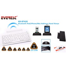 Everest Kb-Bt420 Beyaz Bluetooth İpad/İphone/Mac Q Multimedia Stand Ve Kablosuz Klavye