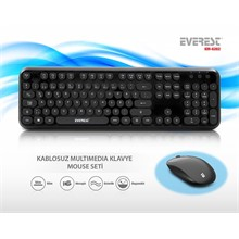 Everest Km-6282-S Kablosuz Q Multimedya Siyah Klavye Mouse Set