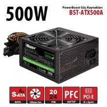 Power Boost Bst-Atx500A 500W 12Cm Siyah Fan, A/Pfc, Siyah Atx Power Supply (Retail Box)